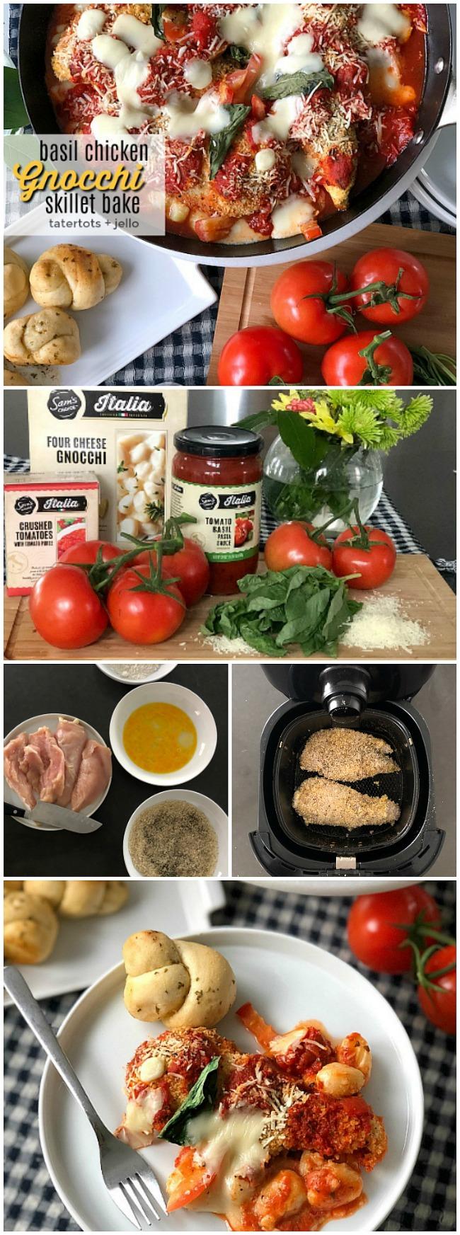 Basil Chicken Gnocchi Skillet Bake - with @Walmart's new Sam's Choice Italia line. Basil Chicken Gnocchi Skillet Bake. Layers of tomato basil pasta sauce, creamy gnocchi, crispy breaded chicken, fresh basil and gooey cheese are baked for a hearty Italian dish everyone loves! #sponsored #WalmartWOW #ItalianRecipe #RecipeKidsLove #GnocchiRecipe