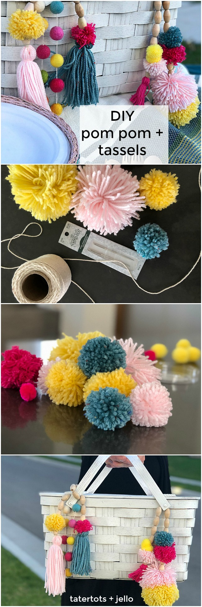 Thrifted BOHO Pom Pom Picnic Basket Makeover! Give a thrifted picnic basket new life and a boho spring makeover with spraypaint and yarn. I will show you how to make BOHO beaded embellishments that will make your new picnic basket shine!