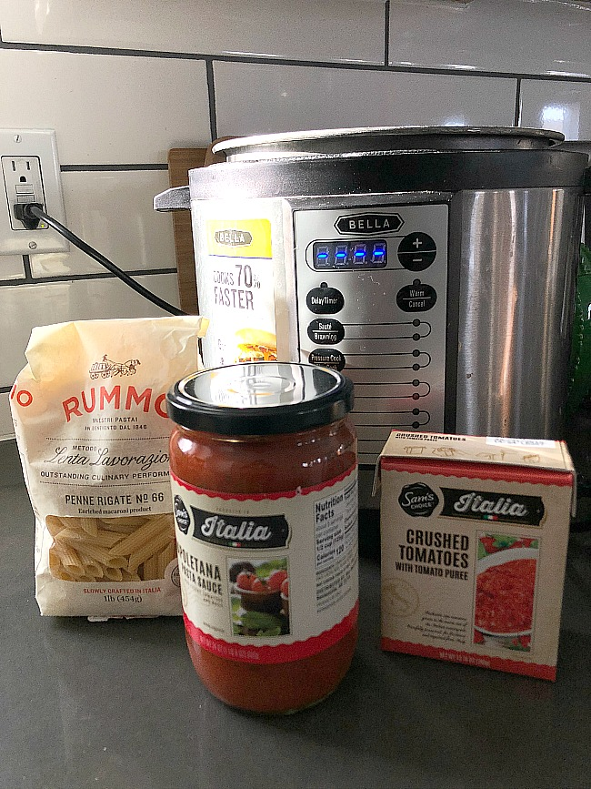 Whip up this easy dish of creamy tomato sauce and hearty penne pasta in minutes. The Instant Pot's pressure makes the pasta sauce creamier and more flavorful. You can keep the ingredients in your pantry for a last-minute dinner idea.