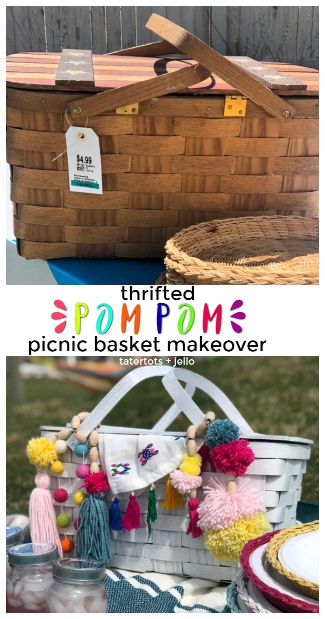 Thrifted Boho Pom Pom Picnic Basket Makeover