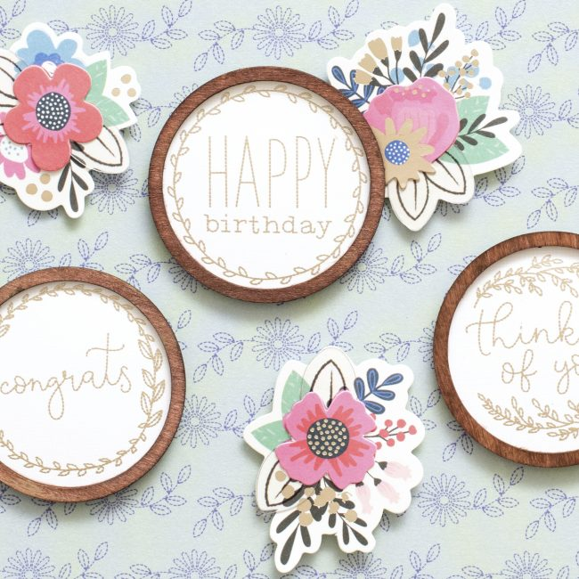 My Bright Life Paper -- bright colors, vintage pyrex, silhouettes, easy tags, LAMAS, beautiful florals AND embroidery hoop sayings. You can make cards, gift ideas, home decor projects and more!