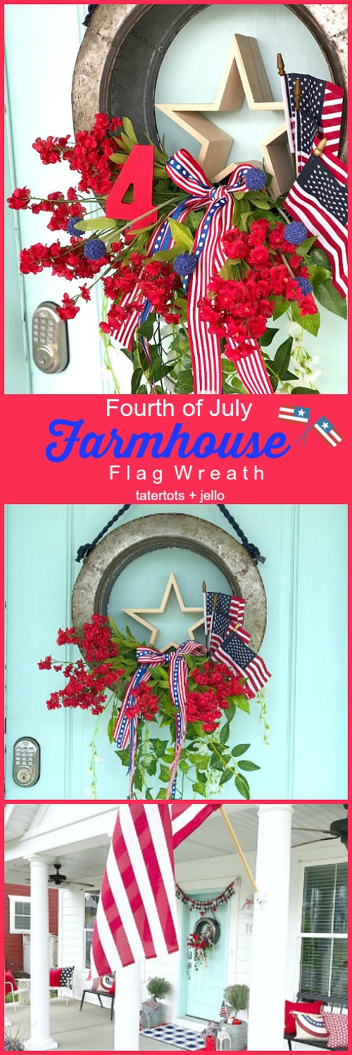 Fourth of July Galvanized Farmhouse Flag Wreath. Galvanized metal, flowers, a star and flags make wreath the perfect way to greet your guests this summer!