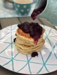 Throw a Kids' Pancake Party + the FLUFFIEST Lemon Ricotta Pancakes with Homemade Blueberry Sauce! Celebrate summer by cooking up these delicious Lemon Ricotta Pancakes with Homemade Blueberry Sauce. Grab the recipe and printable party invitations, posters and banner. It's the perfect kids' birthday or Summer party idea!