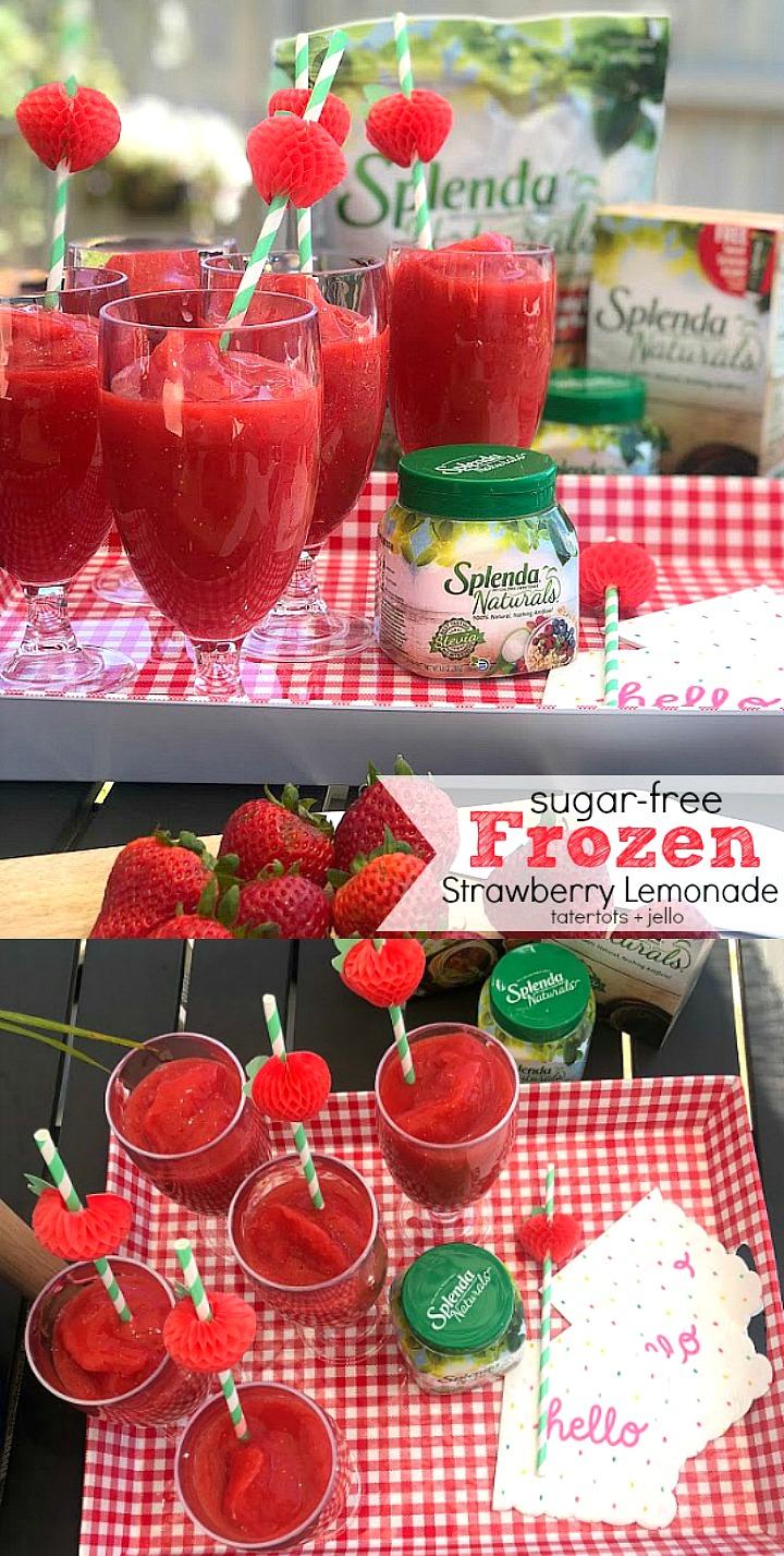 FOUR ingredient Sugar-free Frozen Strawberry Lemonade recipe