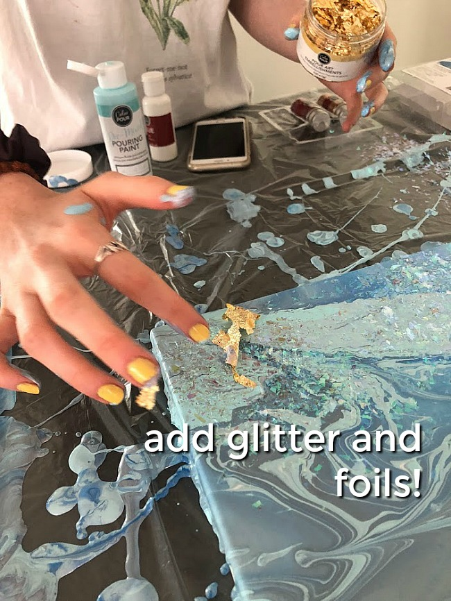 Paint Pouring is an easy way to create one-of-a-kind art by pouring paint onto a canvas using different techniques. Kids of ALL ages will love making their own poured art!
