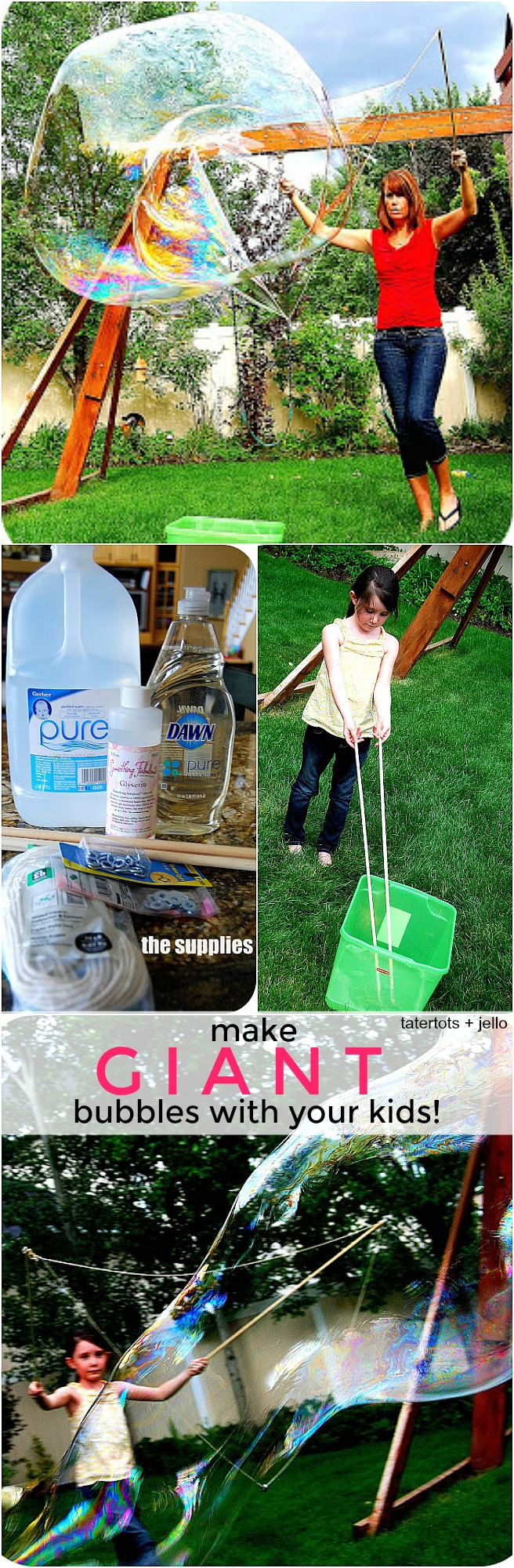 how to make giant bubbles with your kids this summer!