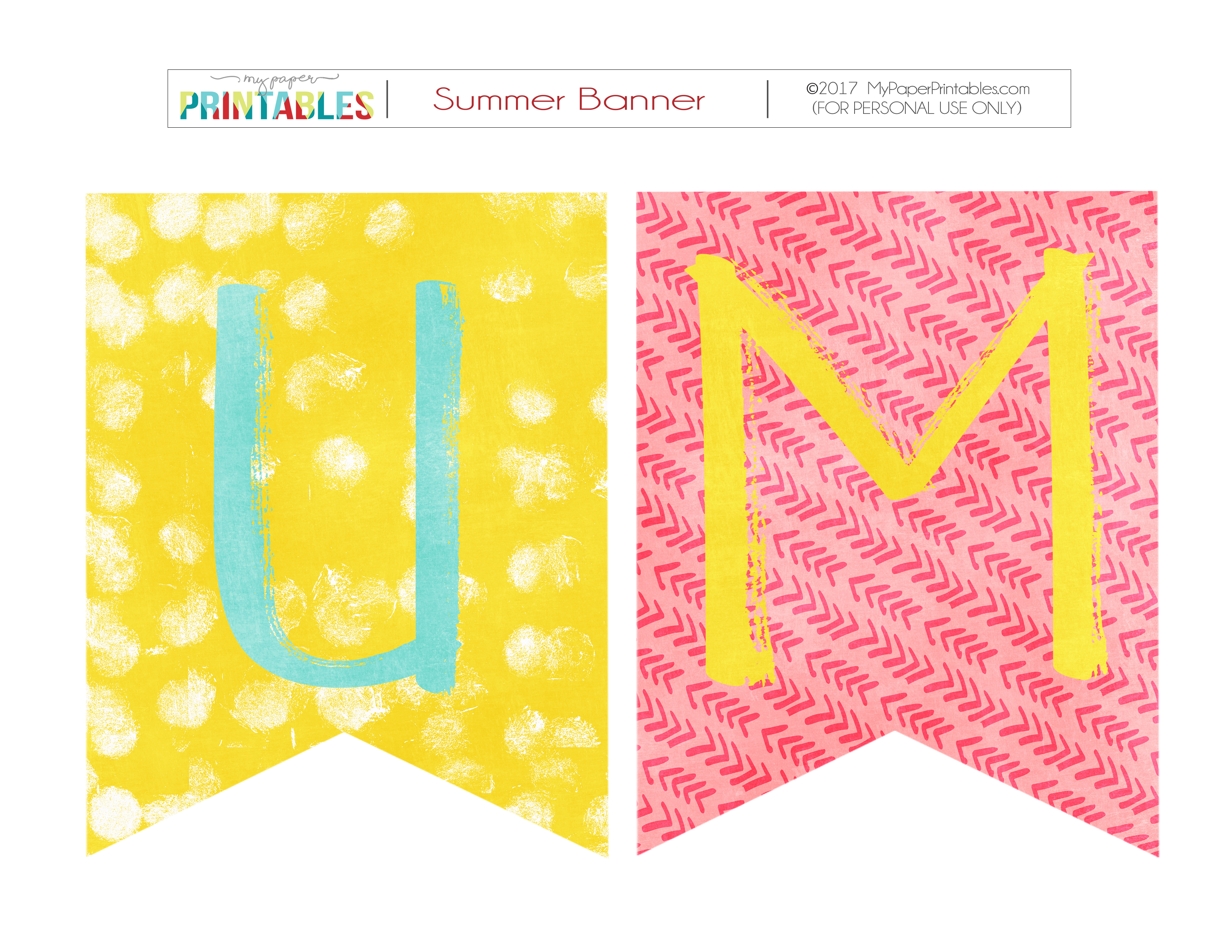 Summer Free Printable Pennants with Patterns