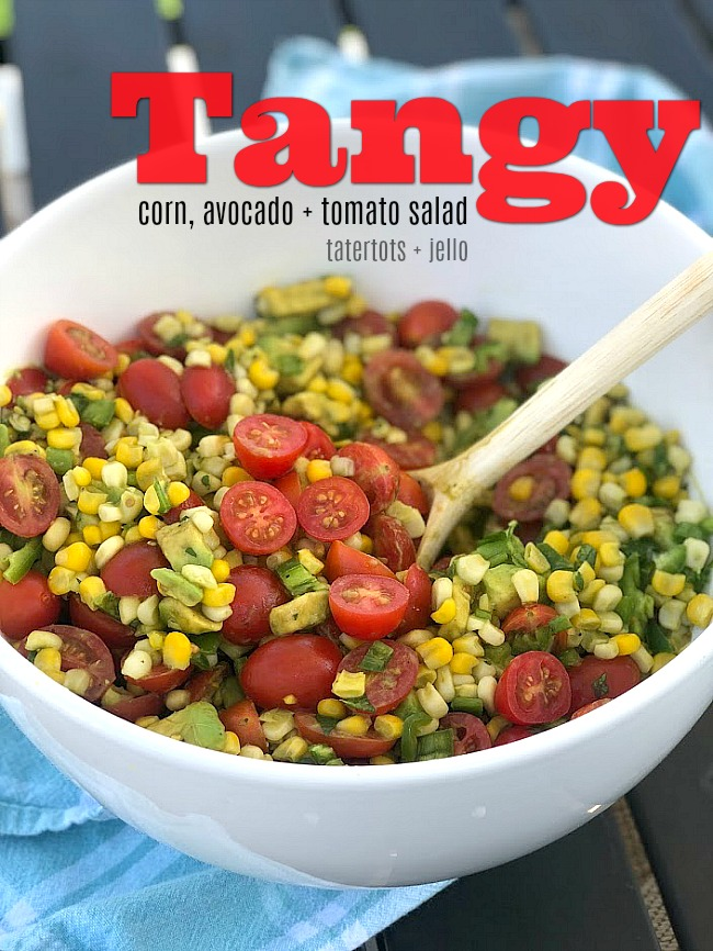 Tangy Corn, Avocado and Tomato Salad. Celebrate the bounties of summer with the perfect trifecta of corn, avocados and tomatoes! Creamy avocado, baby tomatoes and crunchy cornare covered in an zesty citrus lemon olive oil dressing. It's the perfect summertime salad - perfect for dinner or to take to a BBQ or potluck!