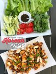 Korean Tacos are a sweet and spicy spin on traditional chicken tacos. Chicken is marinated in gochujang sauce, fresh ginger and herbs and then grilled. Juicy spicy chicken combine with fresh lettuce, cucumber, tomatoes and sauce for a sweet and spicy memorable taco!