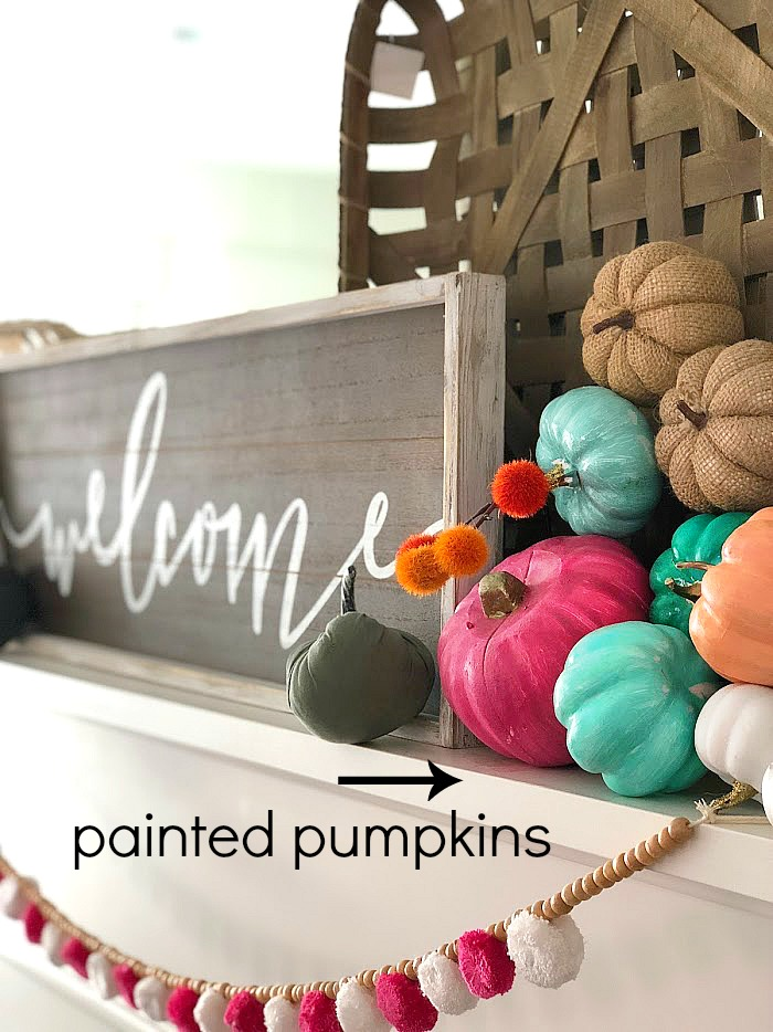 Bright and Colorful Mantel and Decor Ideas for Fall! Make PINK a focal point in your Autumn decor! Bright colors are fun for fall and can add some brightness to your everyday decor!