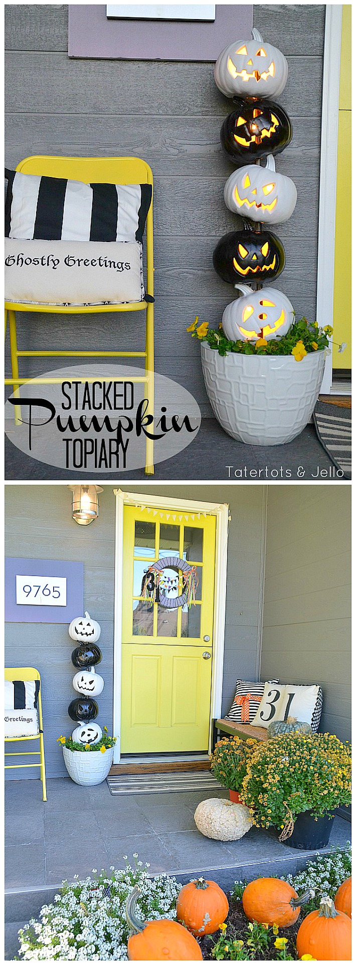 pray paint foam jack-o-lanterns and stack them to create a Halloween Topiary. Add lights and you have a super cute and festive way to welcome guests to your home!