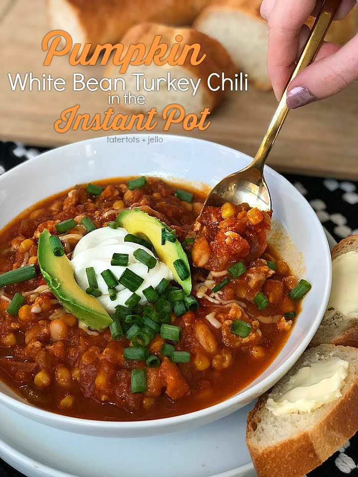 Pumpkin White Bean Turkey Chili is the perfect Fall meal. Based on an award winning pumpkin chili that I've made for years, this version takes a fraction of the time because it's made in the Instant Pot! Made with pumpkin puree, ground turkey, white beans, corn, green chilis and zesty spices, we top it with sour cream, green onions and avocado. It is also amazing serves with a baguette or crispy tortilla chips.