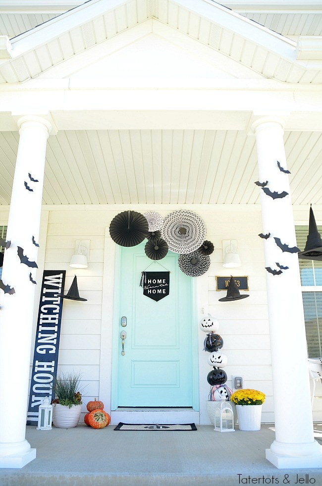 witching hour black and white Halloween porch