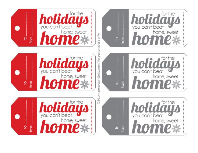 free printable home for the holidays gift tags
