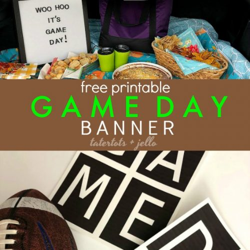 Free Printable Game Day Football Banner. Print off this cute football banner and hang it to celebrate any sport! It's the perfect, easy way to decorate!
