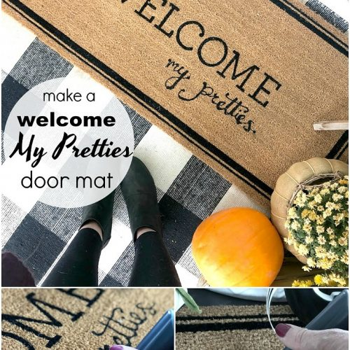 How to make a Welcome My Pretties Halloween Rug. Take a welcome rug and add custom words to create a special rug for a holiday or season!