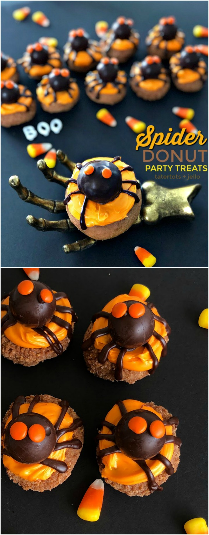 How to make donut spider halloween treats. It's so easy and fun. Make some with your kids!