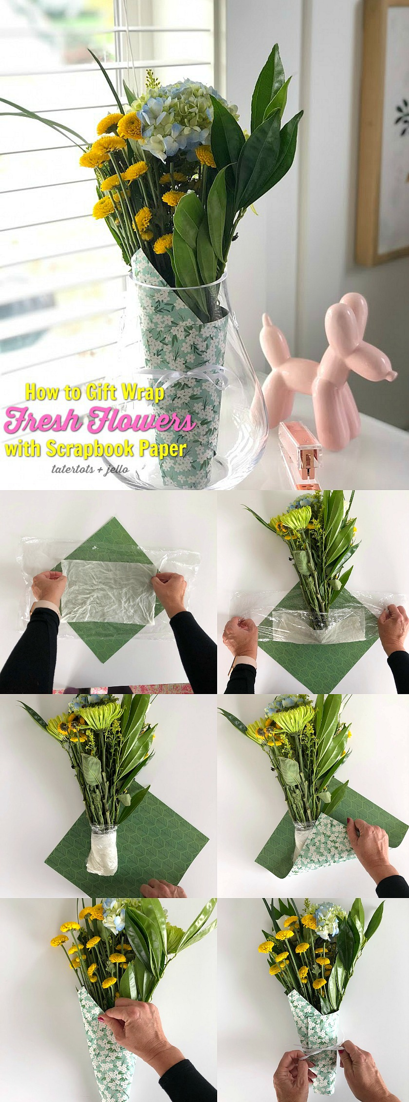 How to Gift Wrap Fresh Flowers with Scrapbook Paper! Give the gift of fresh flowers and wrap them in beautiful paper and ribbon for a gift everyone will love!