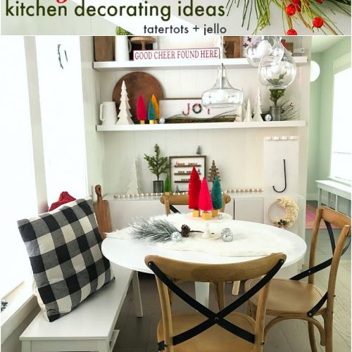 Cozy Christmas Kitchen Nook Decorating Ideas! Decorate shelves in your kitchen for the holidays with DIY projects, greenery and trees for a welcoming place to gather with your family.