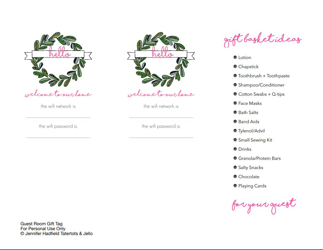 Free Printable Holiday Gift Basket Tags and Wifi Code