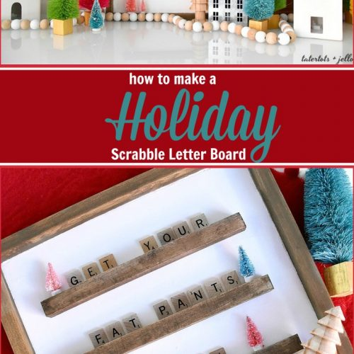 How to Make a DIY Holiday Scrabble Tile Letter Board. Take an old frame, add paint, wood molding and scrabble letters for a DIY letter board you can use all year!
