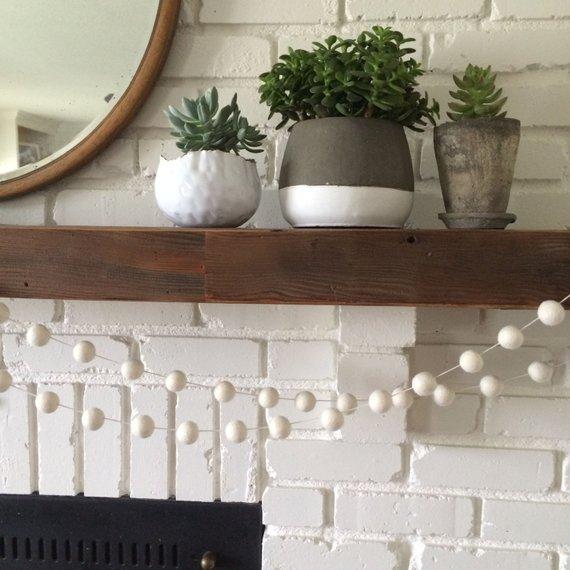 cream felted ball garland