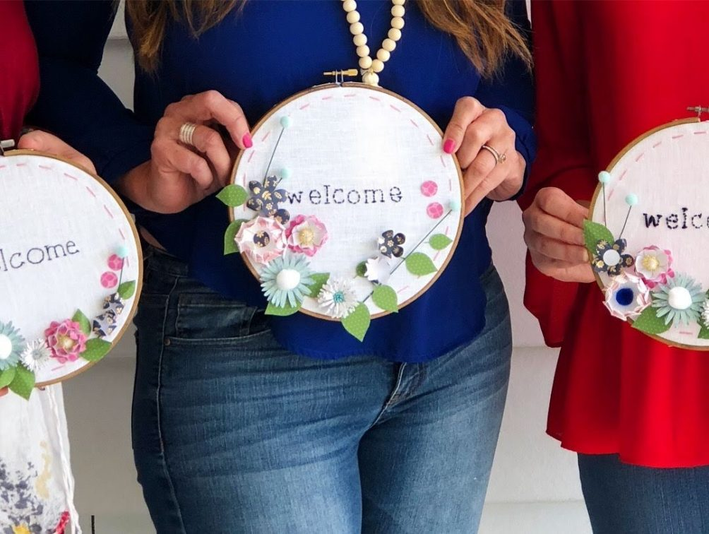 embroidery hoop welcome wall hanging