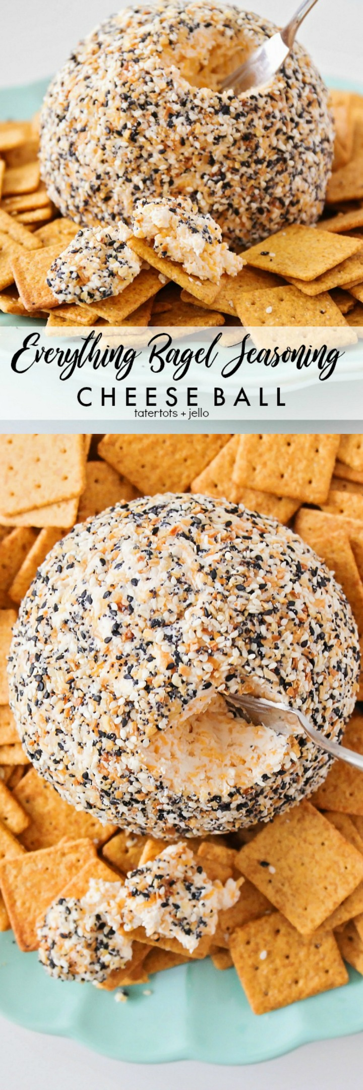 everything bagel seasoning cheese ball - soft cheese inside, crunchy outside. The perfect holiday appetizer and so easy to make! #sponsored @walmart #WalmartHolidayReady