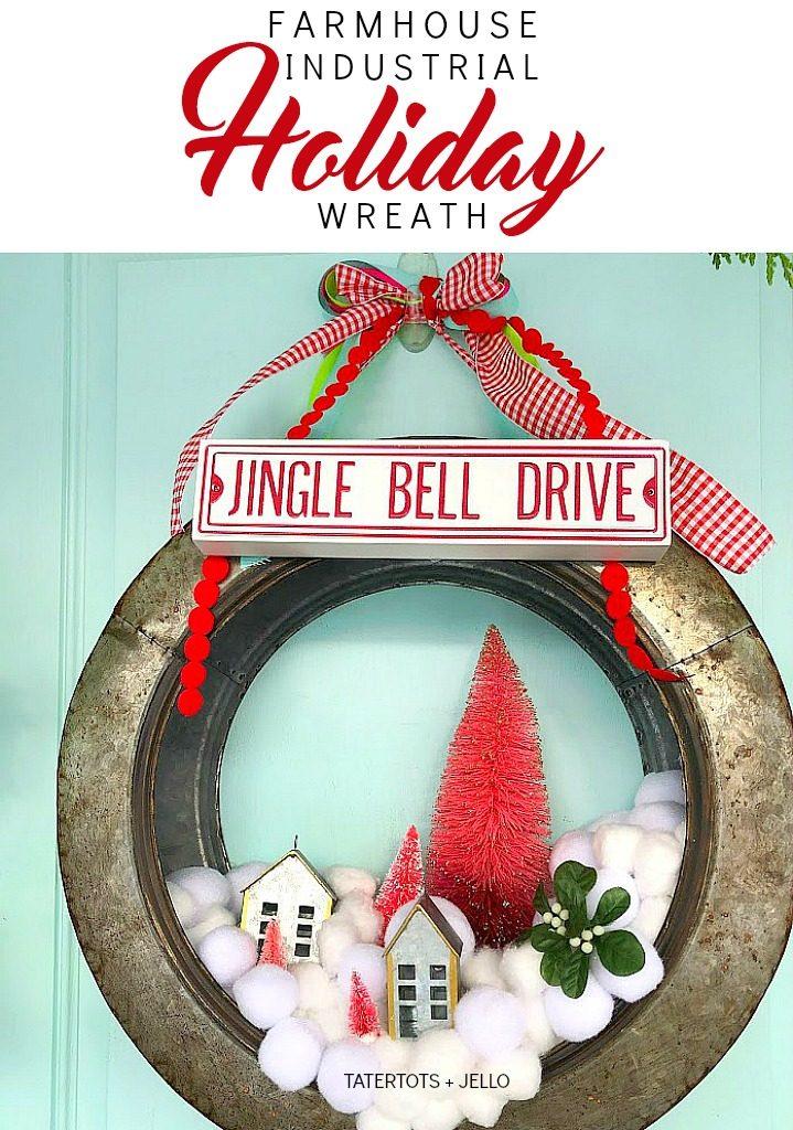 farmhouse industrial holiday wreath snowball whimsical wreath