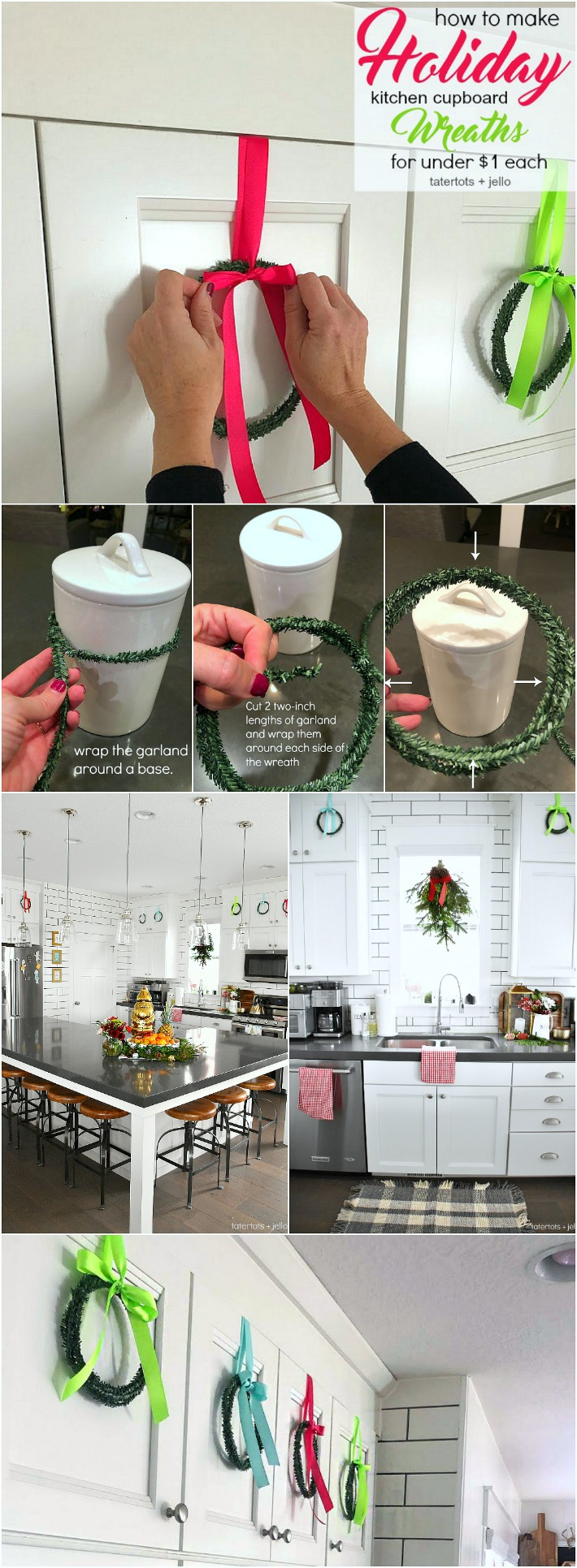 How to make mini cupboard wreaths for under a  dollar. Make mini wreaths out of tiny rolls of garland and hang them on your kitchen cupboards or on the back of chairs for the holidays.