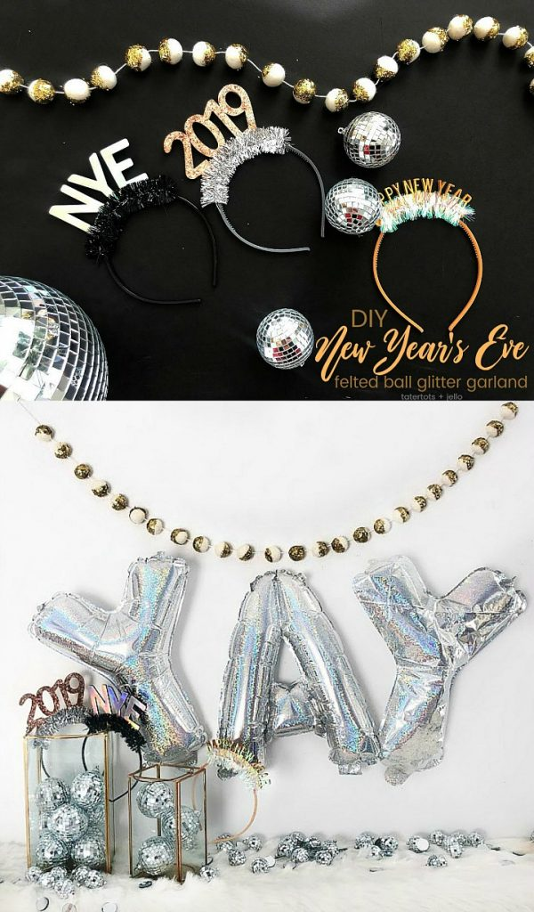 Make a New Year's Eve Glitter Felted Ball Garland. Create a festive glitter garland to ring in the New Year! It's an easy DIY idea!
