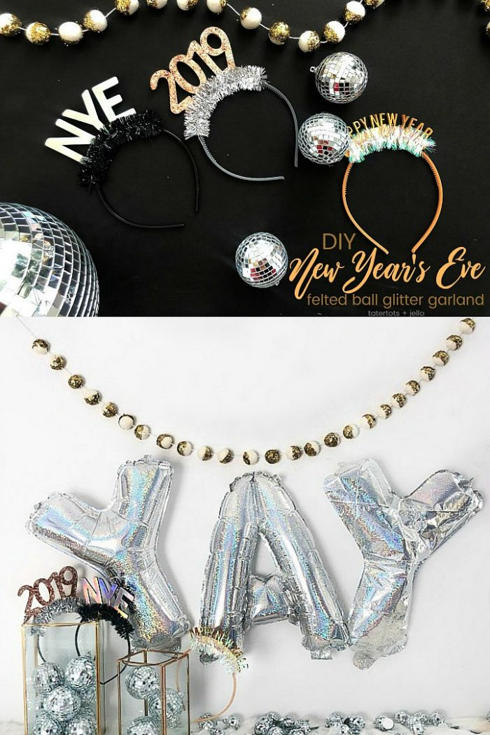 Make a New Year's Eve Glitter Felted Ball Garland!