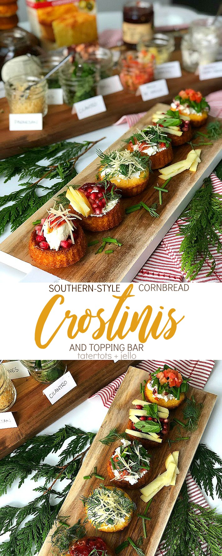Southern-Style Cornbread Crostinis and topping bar holiday appetizer idea kids love