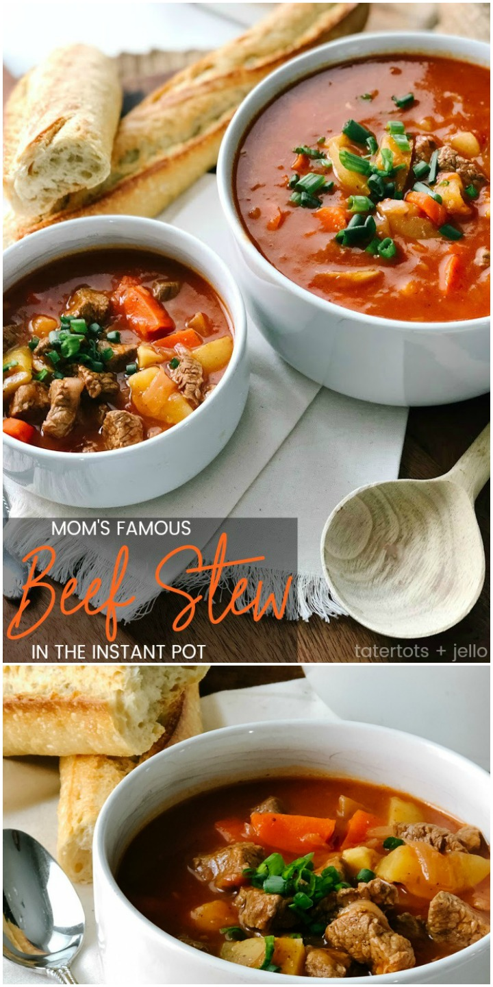 Mom's Famous Beef Stew in the Instant Pot. My mom made a beef stew that was full of savory veggies and tender meat. I've taken her recipe and converted it for our Instant Pot. Instead of taking 3 hours, you can have Mom's Famous Beef Stew in 35 minutes!