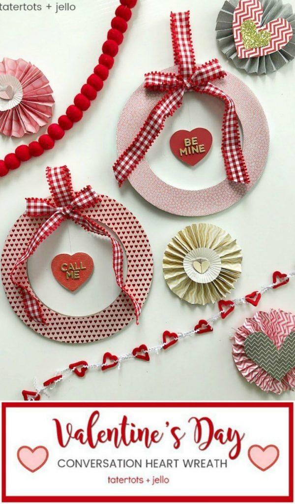 valentines day floating conversation wreath DIY