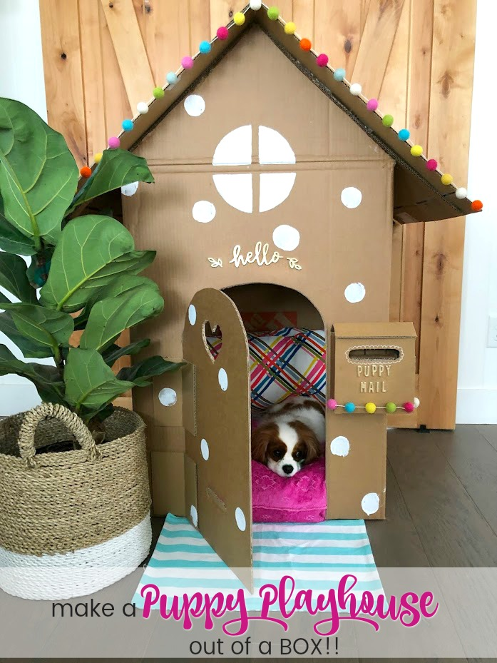 make a dog playhouse out of a box. all the instructions