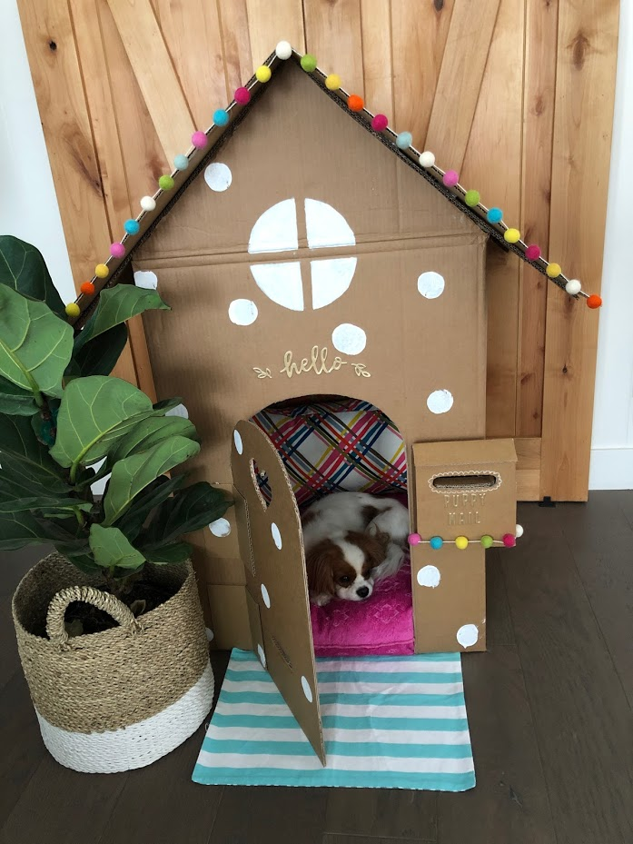 Make an Adorable DIY Dog Playhouse Out of a Box! Use your imagination and create a sweet playhouse for your dog with a cardboard box!