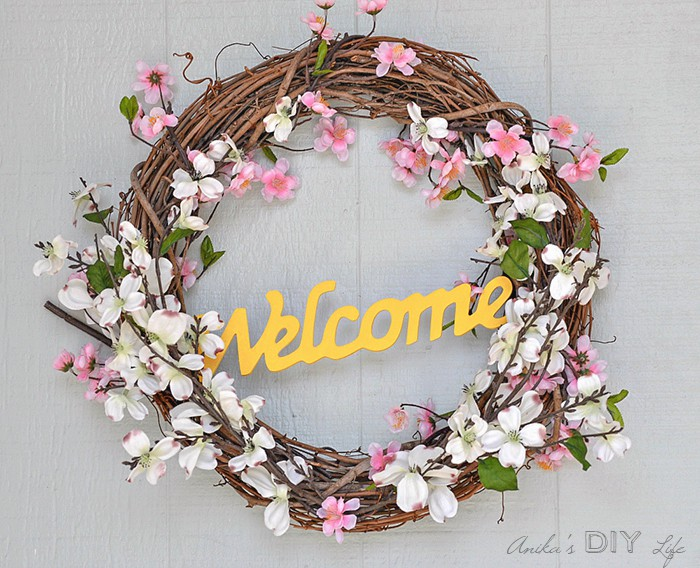 5 minute grapevine wreath with pink and white flowers.