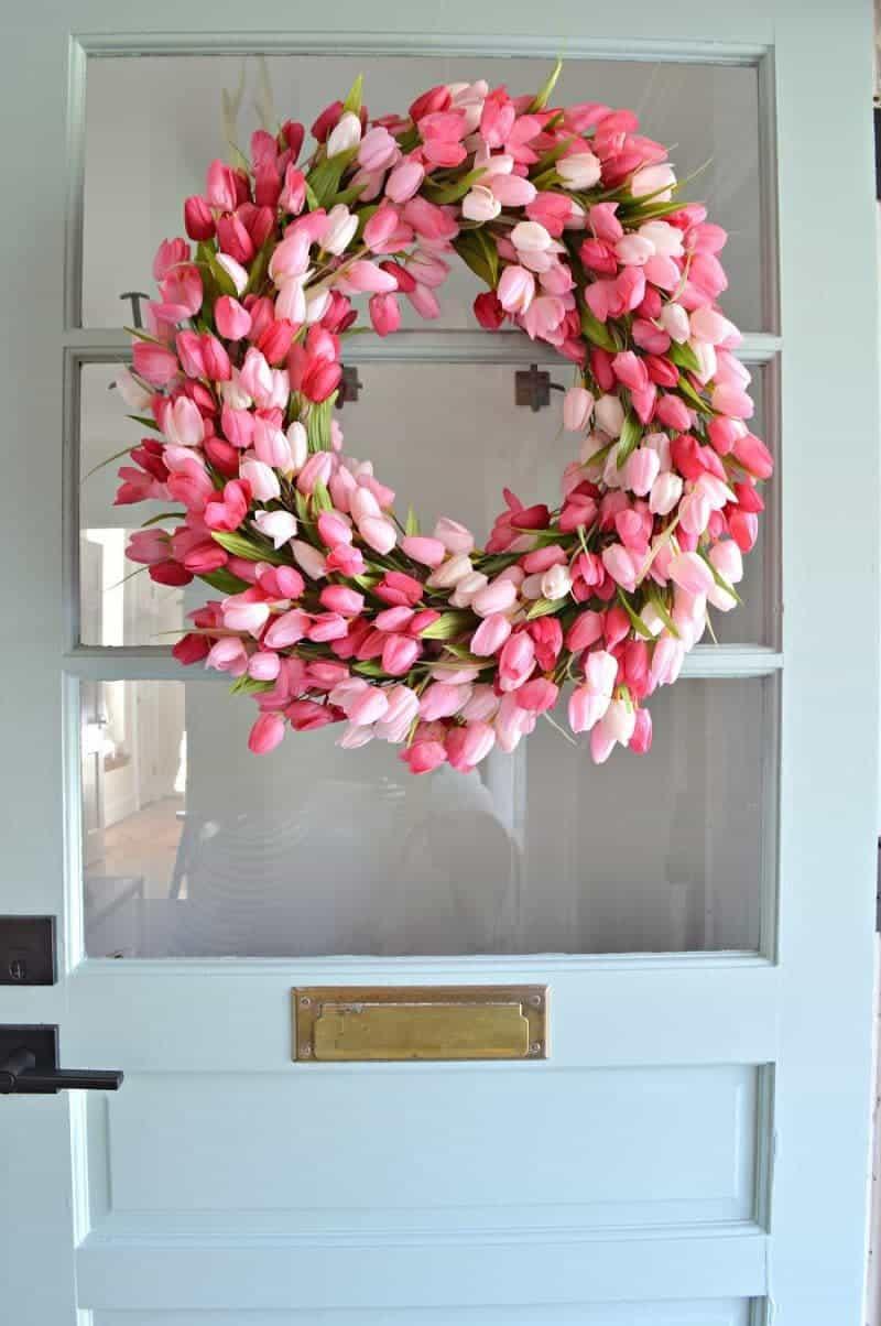 pink tulip spring wreath