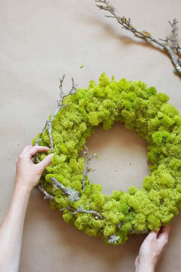 Mossy green spring wreath