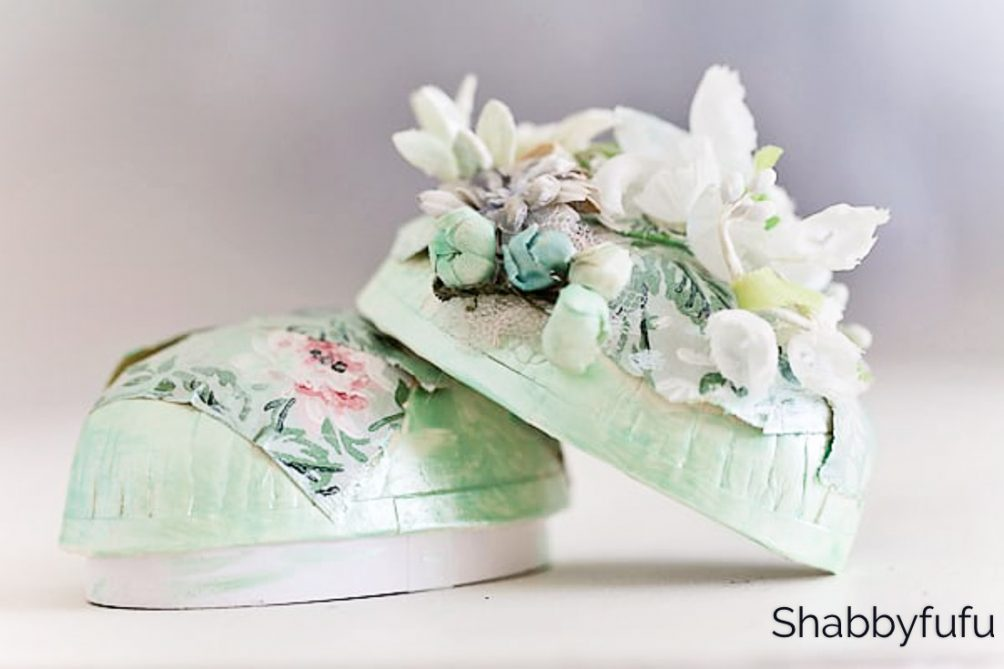 millinery egg boxes with vintage flowers