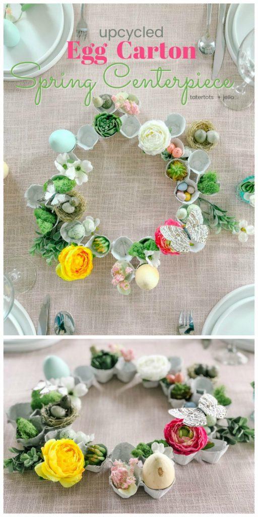 how to make an egg carton wreath for spring centerpiece