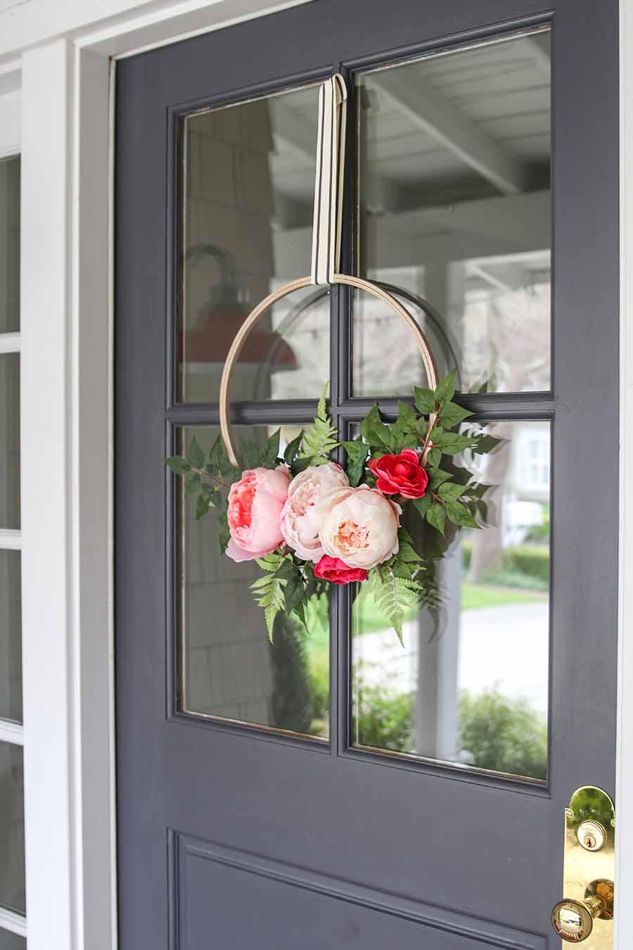 Modern Glam Home Spring Hoop Wreath DIY