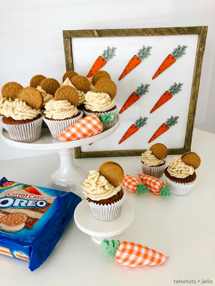Carrot Cake OREO Buttercream Frosting Recipe. The best buttercream frosting recipe PLUS crushed up Carrot Cake OREO cookies will make your carrot cake cupcakes INSANELY good!