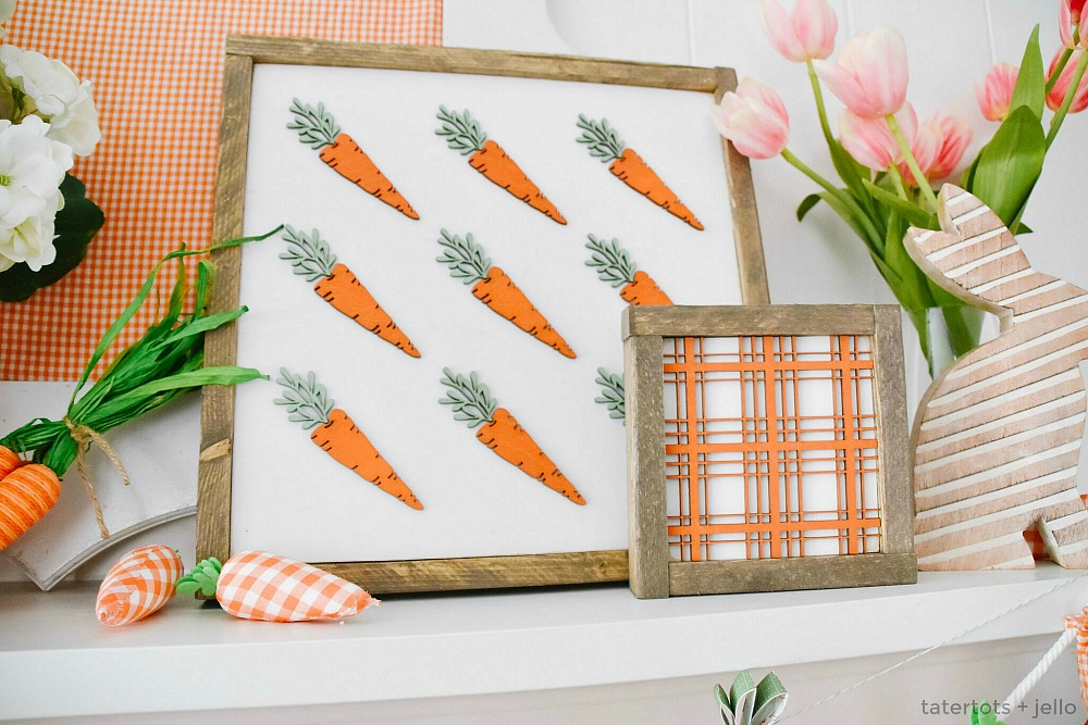 spring mantel carrot and plaid signs @thehandmadesigncompany