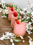 Fluffy Strawberry Cheesecake Mousse! Kick Spring off by making this easy and delicious, light and creamy mousse. It's a great dessert to make ahead of time and wow your dinner guests!