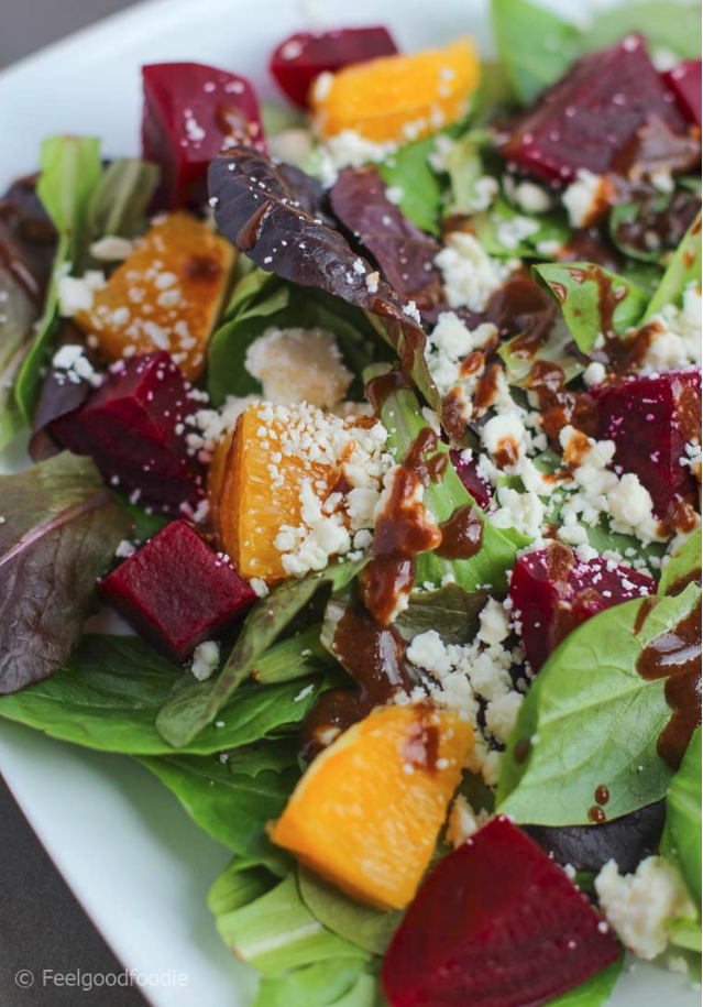 orange red beet feta spring salad