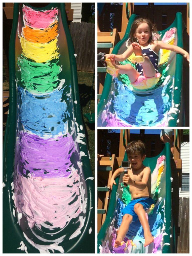 Rainbow Shaving Cream Slip and Slide