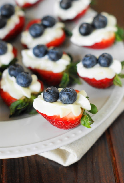 Red White & Blue Strawberry Cheesecake Bites @ The Kitchen Is My Playground