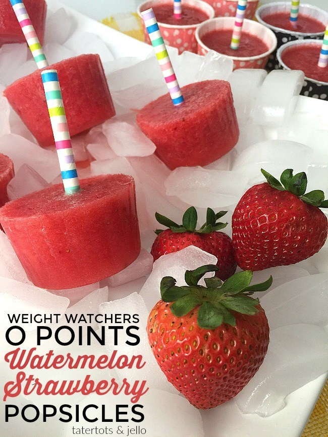 Weight Watchers 0 Points Watermelon Strawberry Popsicles @ Tatertots & Jello